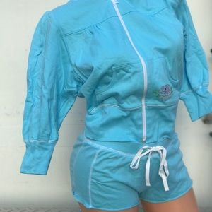 Blue Betsey Johnson cropped hoodie shorts set